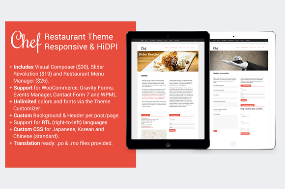 Chef Restaurant WordPress Theme