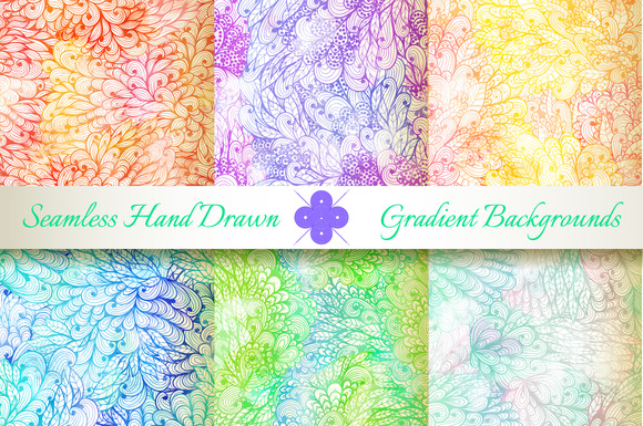 6 Seamless Gradient Florals Set#4