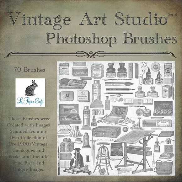 Vintage Art Studio Photoshop Brushes