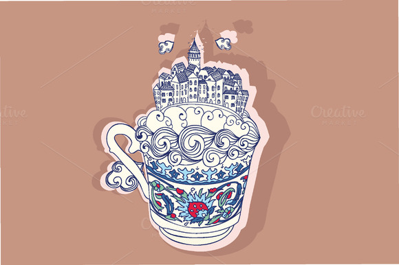 Istanbul City In Turkish Coffee Cup