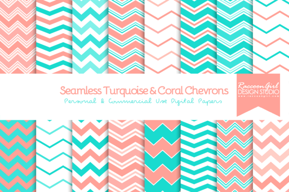 Seamless Turquoise Coral Chevrons