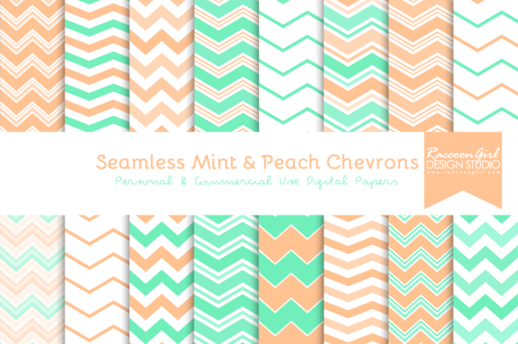 Seamless Mint Peach Chevrons