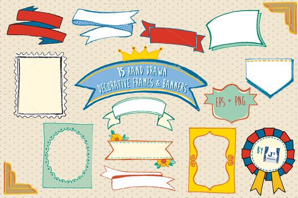 Doodle Frame Banner Clipart EPS PNG