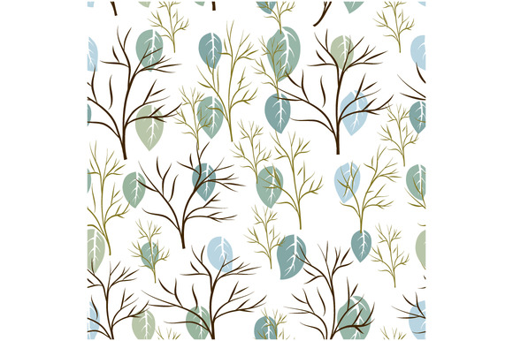 Seamless Pattern Of Leaf And Tree