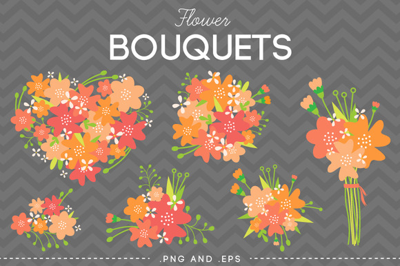 Flower Bouquet Vector Pink Orange