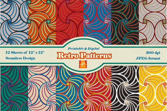 Retro Digital Paper- 12 Colorways