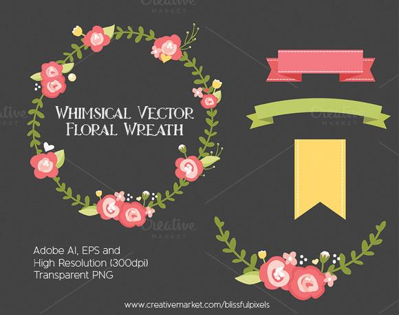 Whimsical Vector Floral Wreath
