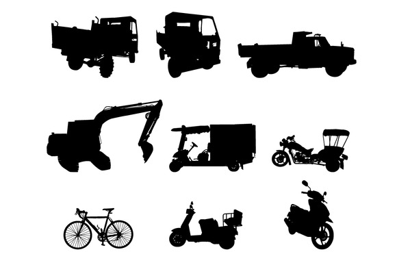 Silhouette Set Of Vehicle