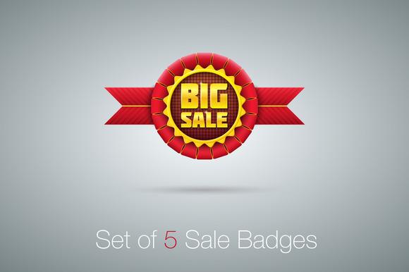 Red Sale Badges Set