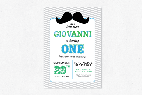 Moustache Party Invite