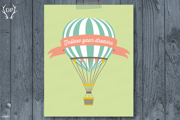 Hot Air Balloon Print Art