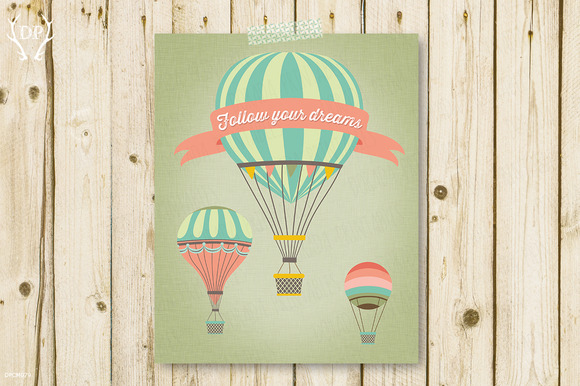 Three Vintage Balloons Art Print