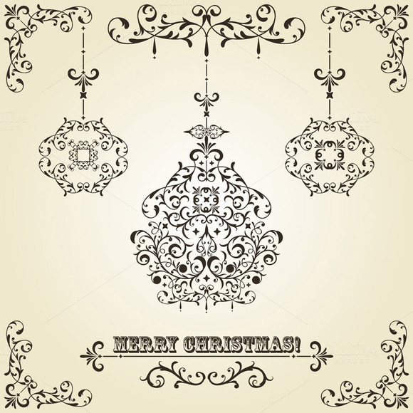 Vector Vintage Christmas Greeting Ca