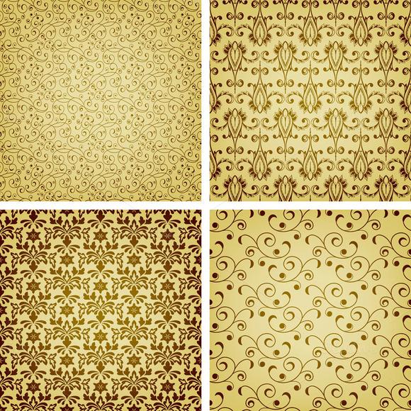 Vector Seamless Golden Patterns