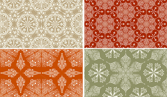 4 Vector Seamless Winter Patterns