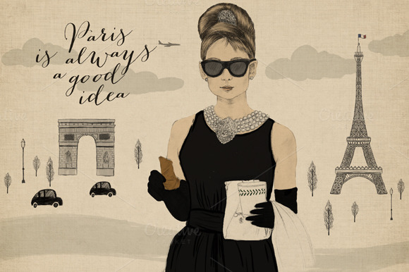 Audrey Hepburn Fashion Illustration