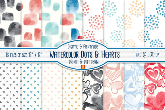 Watercolor Dot Heart Digital Paper