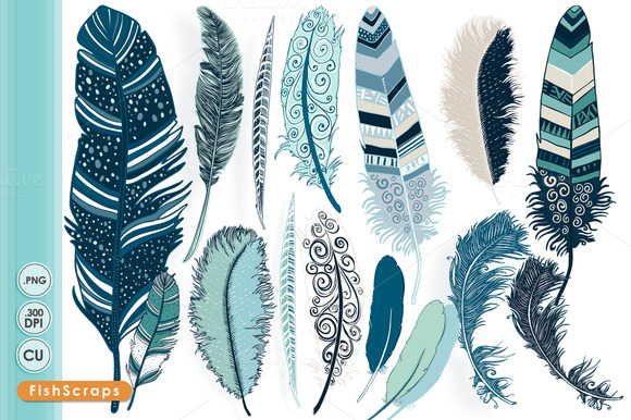 Tribal Feather ClipArt Ocean Blue