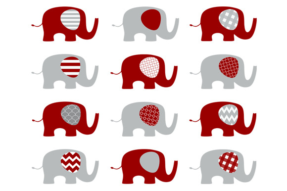 Red And Grey Elephants Clip Art Set