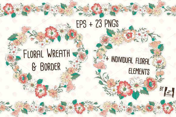 Floral Wreath Border ClipArt EPS PNG