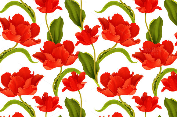Seamless Pattern With Tulip Flower