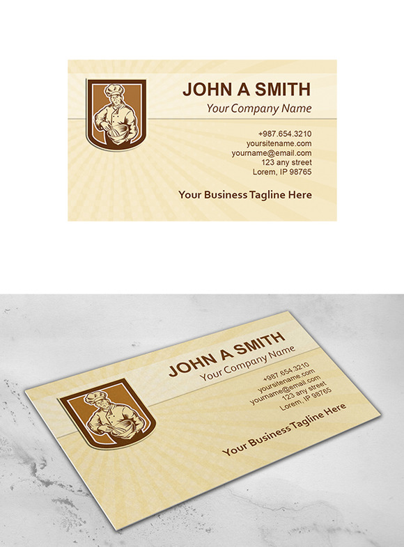 Business Card Template Baker Chef Co