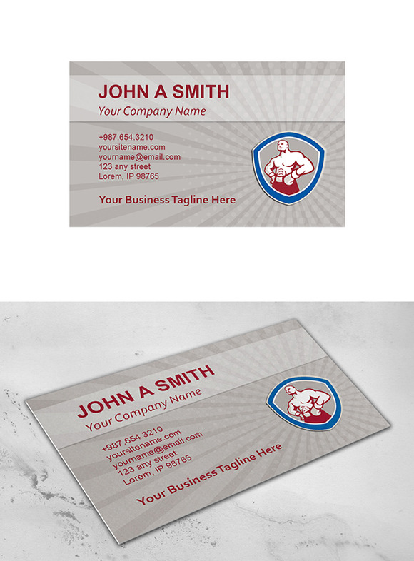 Business Card Template Boxer Shield