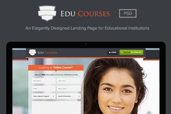 Edu Courses Landing Page PSD