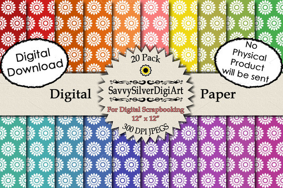 Rainbow Flower Digital Paper
