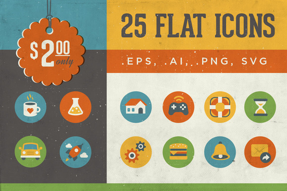 25 Icons Vintage Flat Series