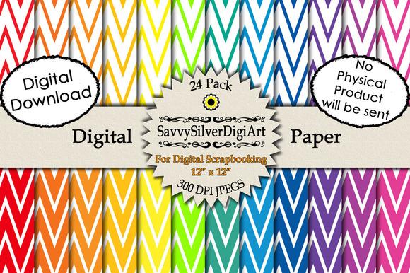 Rainbow Chevron Digital Papers 2