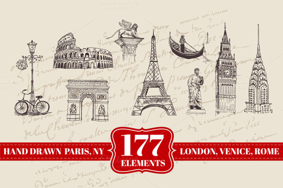 177 Hand Drawn London Paris More