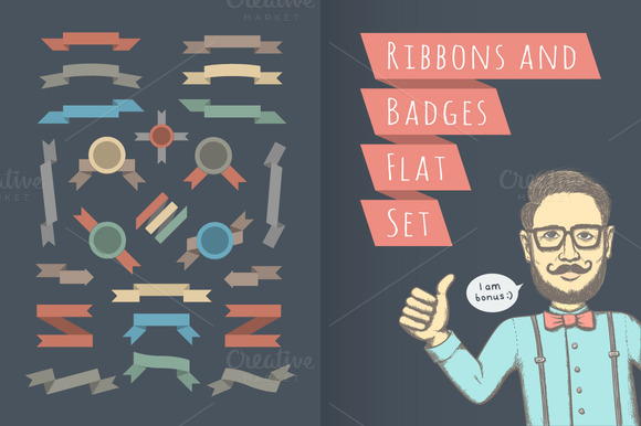 Ribbons Badges And Hipster
