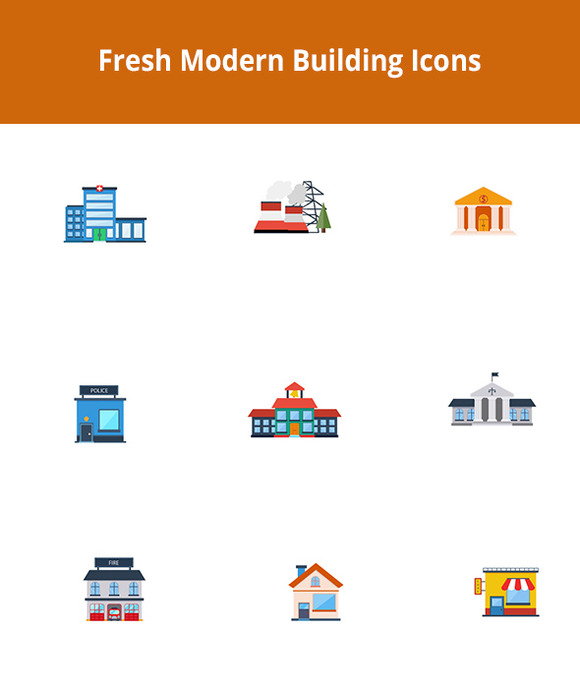 Fresh Modern Buildings Vector Set