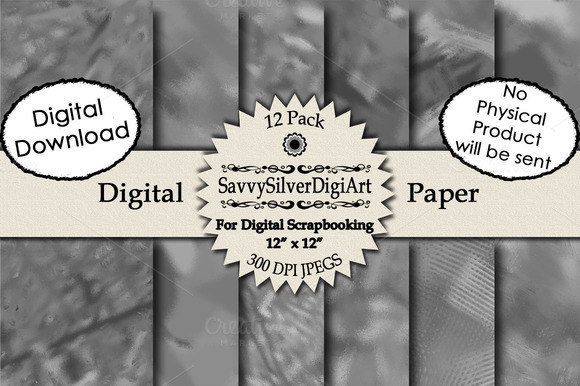 Gray Abstract Digital Paper