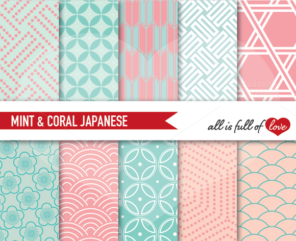 Mint Coral Background Papers