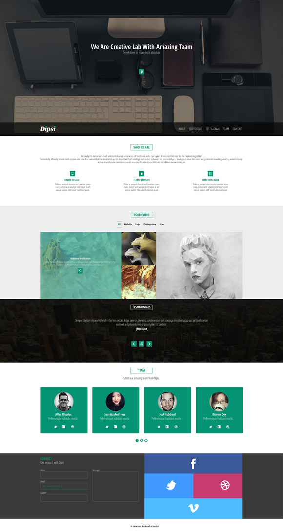 Creative One-Page PSD Template