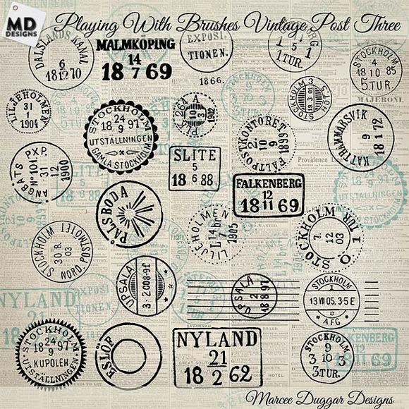 Vintage Swedish Post Marks