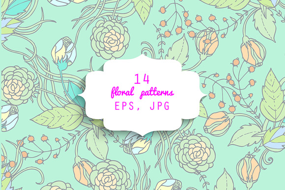 14 Floral Patterns EPS JPG