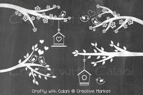 Love Bird Flower Chalkboard