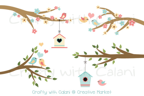 Love Bird And Flower In Pastel Color