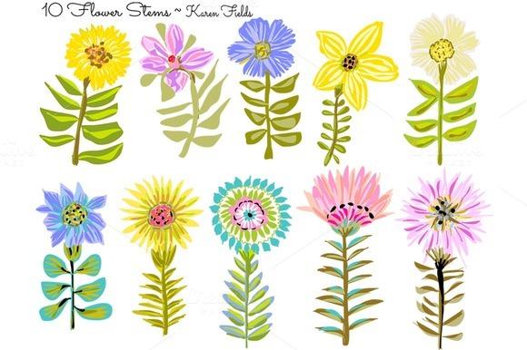 10 Flower Stems By Karen Fields