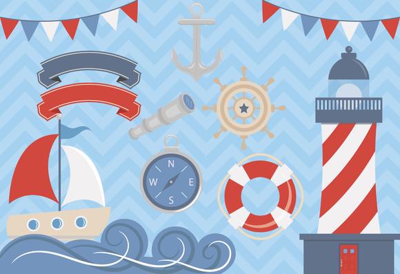 Clip Art Set Nautical Elements