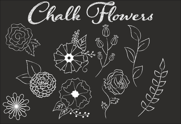 Clip Art Chalk Flower Illustrations