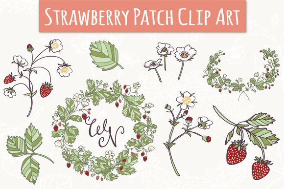 Strawberry Patch Clip Art Vectors