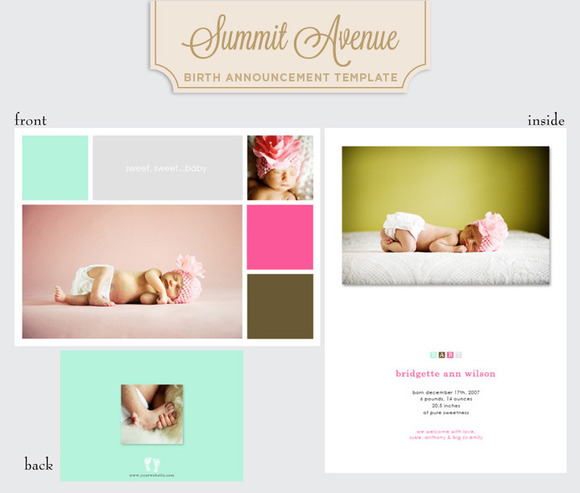 Color Block Birth Announcement Girl