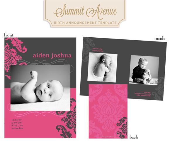 Modern Damask Girl Birth Anouncement