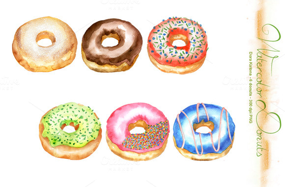 Watercolor Donuts Clip Art