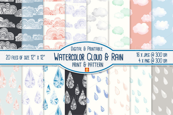 Watercolor Cloud Rain Digital Paper