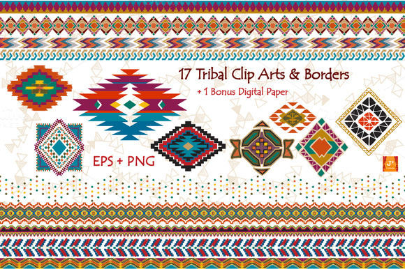 Tribal Clip Art Border- EPS PNG